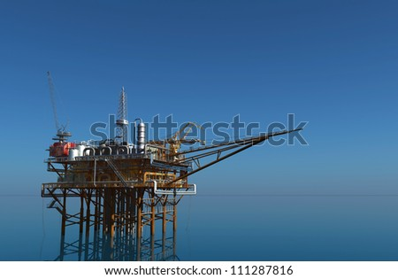Oil production in the sea. - stock photo