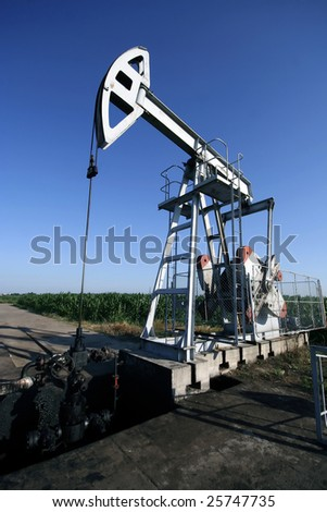 Oil pump against blue sky