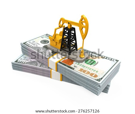 Oil Pump and Dollars - stock photo