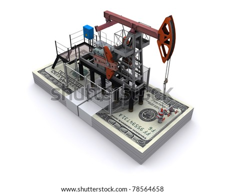 Oil pump-jack stands on a pack of dollars - stock photo