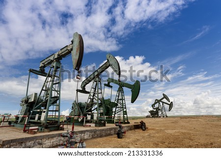 oil pump jacks  - stock photo