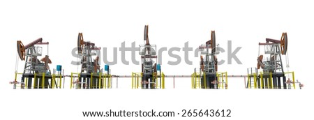 Oil pump-jacks. Front view. Isolated render on white background - stock photo