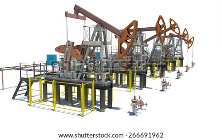 Oil pump-jacks. Isolated render on white background - stock photo