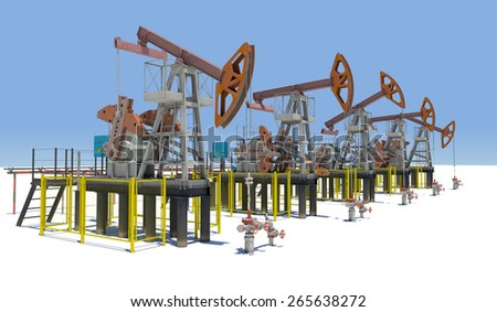 Oil pump-jacks on white plane. Blue sky as backdrop - stock photo