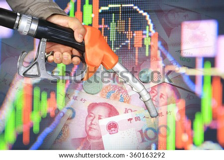 oil pump nozzle and stock chart - stock photo