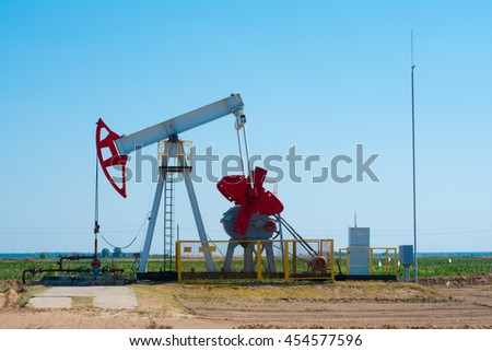 Oil pump. Oil industry equipment in the oilfield. Oil and gas concept. - stock photo