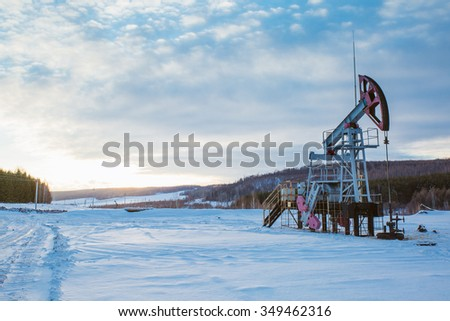 Oil pump oil rig energy industrial machine for petroleum - stock photo