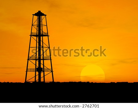 Oil pump silhouette over orange sky - stock photo