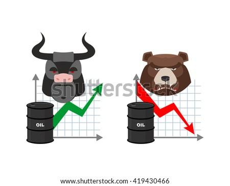 Oil quotations increase. Barrel of oil declines. Bull and bear. Business graph. Traders in securities market. Players on the Exchange. Green arrow and red arrow - stock photo