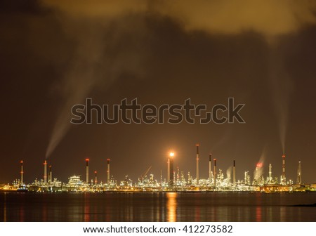 Oil refinery at night in Singapore
