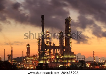 Oil refinery at sunrise, Thailand