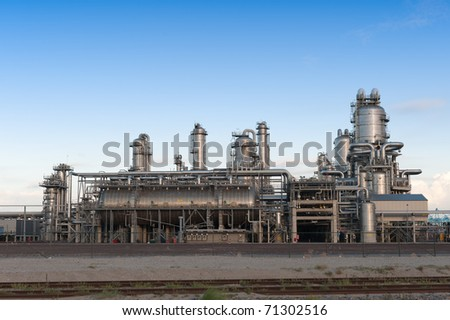 Oil refinery at the Maasvlakte in Holland - stock photo