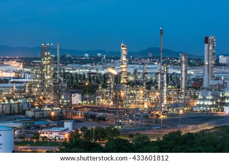 Oil refinery at twilight, Oil refinery industry, Oil refinery at twilight - stock photo