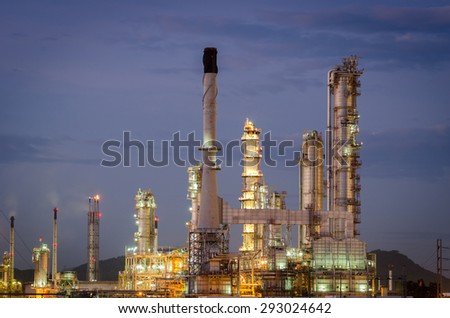 Oil refinery at twilight , Petrochemical plant , petroleum