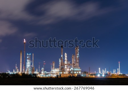 oil refinery at twilight time - stock photo