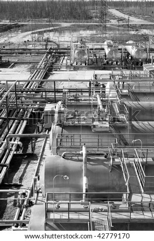 Oil refinery center in West Siberia. Black and white