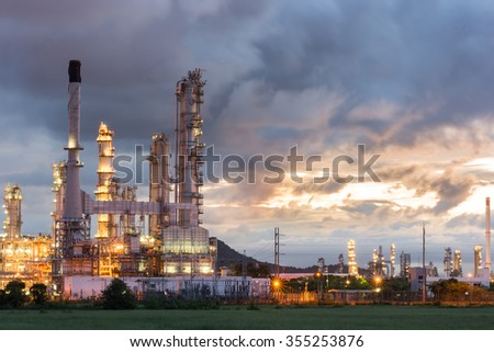 Oil Refinery factory at dark , Petroleum, petrochemical plant