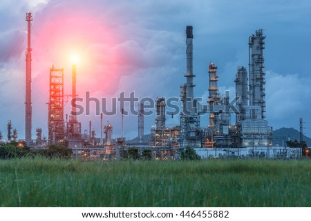 Oil Refinery factory at sunrise, petrochemical plant,