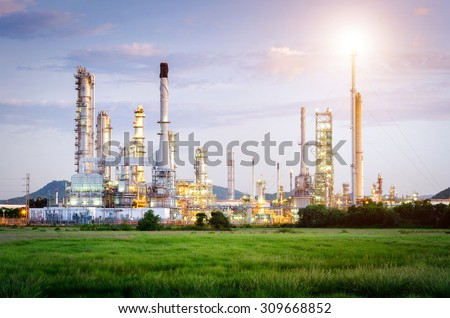 Oil Refinery factory at the morning , petrochemical plant , Petroleum , Chemical Industry - stock photo