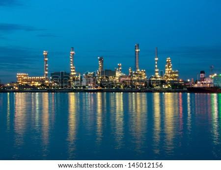 Oil refinery factory at twilight Bangkok Thailand - stock photo
