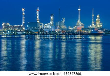 Oil refinery factory at twilight Bangkok Thailand