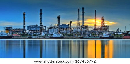 Oil refinery factory fplant or chamical and power energy industrial. - stock photo
