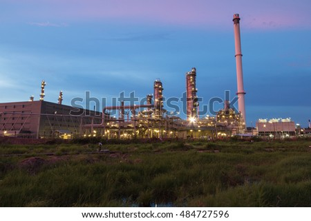 Oil Refinery factory in  evening, Petroleum, petrochemical plant