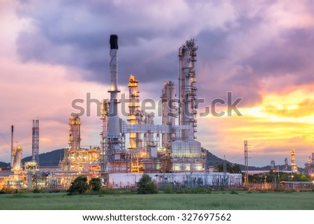 Oil Refinery factory in the morning - stock photo
