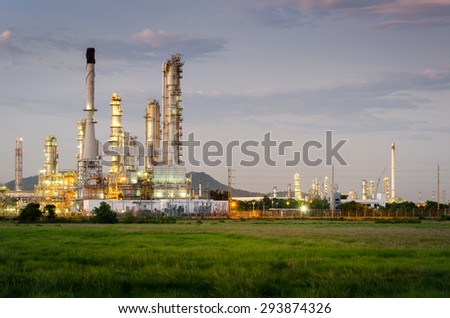 Oil Refinery factory in the morning , petrochemical plant , Petroleum