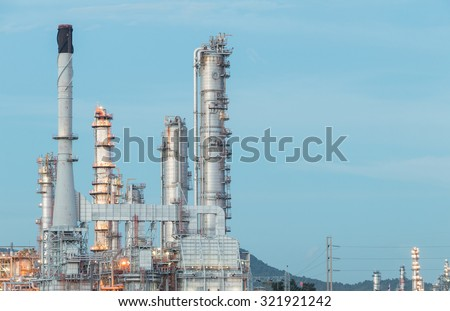 Oil Refinery factory in the morning , petrochemical plant , Petroleum - stock photo