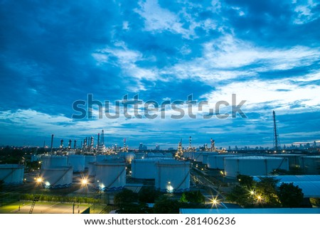 Oil refinery factory in twilight time. - stock photo