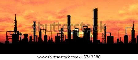 Oil refinery factory over sunrise