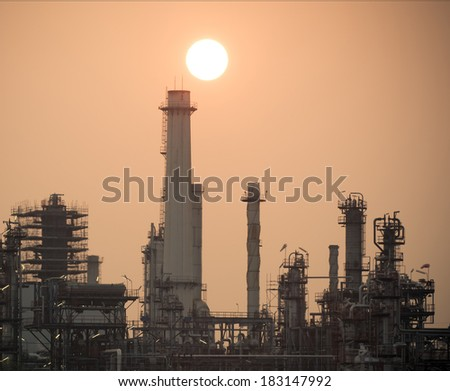 Oil refinery factory over sunrise Bangkok Thailand