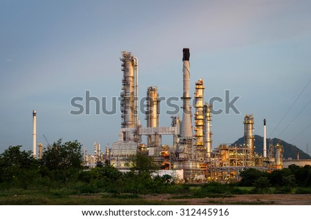 Oil Refinery factory , petrochemical plant , Petroleum - stock photo
