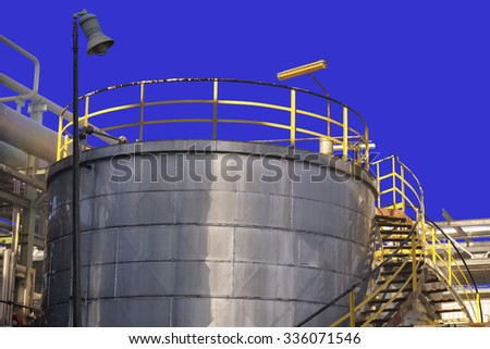 Oil refinery factory plant or chemical and power energy industrial and oil tank.
