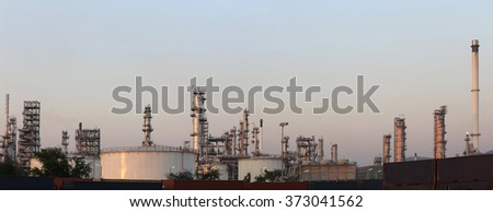 Oil refinery in the evening of panorama style,photography on twilight style.