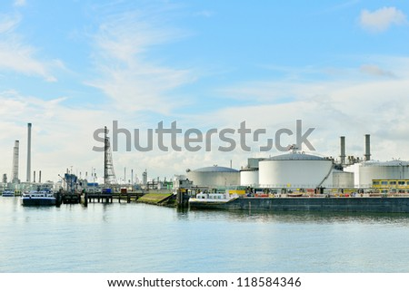 oil refinery in the harbor of rotterdam netherlands