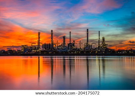 Oil refinery industrial plant at sunrise, Thailand. - stock photo