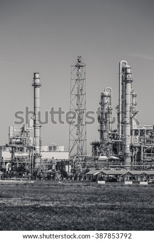 Oil refinery industrial plant , black and white tone - stock photo