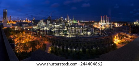 Oil,Refinery Industry and Power plants with light Twilight blue sky with panorama . - stock photo