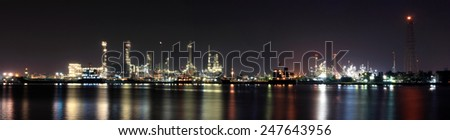 oil refinery industry panorama - stock photo
