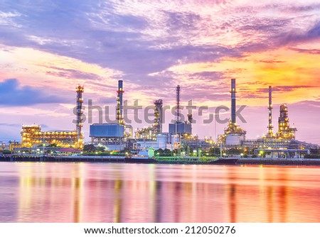 oil refinery industry plant at twilight morning - stock photo