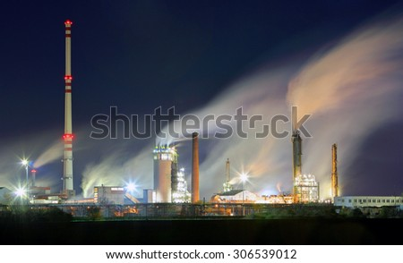 Oil refinery industry plant with smokestack - stock photo
