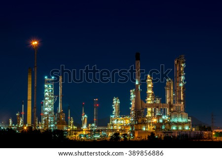 Oil refinery is working at night in thailand