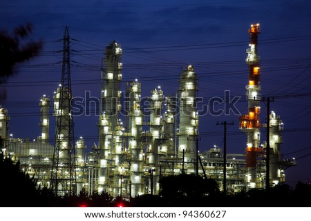 Oil refinery on a night - stock photo