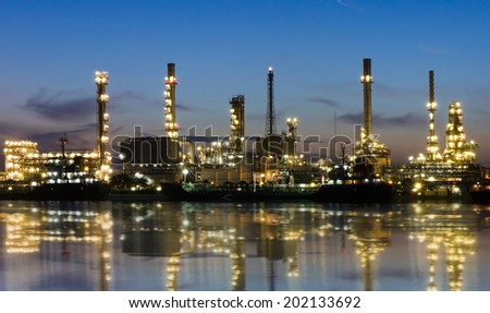 Oil refinery or petrochemical industry in thailand. at Before sunrise - stock photo