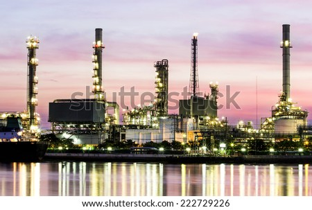 Oil refinery or petrochemical industry in thailand.smokestack - stock photo