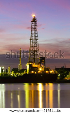 Oil refinery or petrochemical industry in thailand.Tower - stock photo