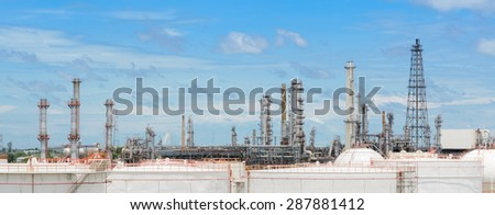 Oil refinery or petrochemical industry plant with large fuel storage tanks