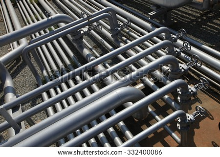 Oil refinery pipeline - stock photo